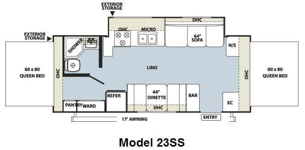 Floorplan - 2010 Forest River RV Rockwood Roo 23SS