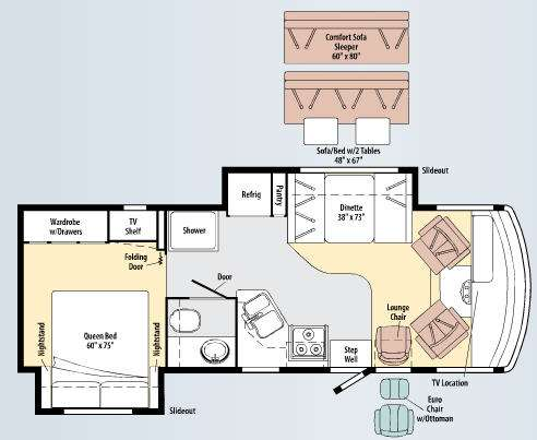 Floorplan - 2010 Itasca Sunstar 26P