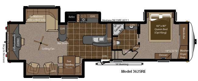 Floorplan - 2012 Keystone RV Montana 3625 RE