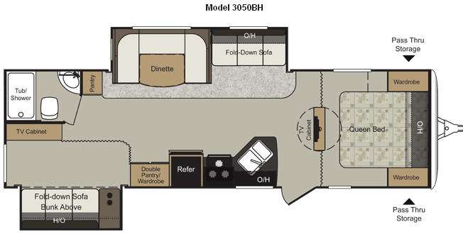 Floorplan - 2012 Keystone RV Passport 3050BH Grand Touring