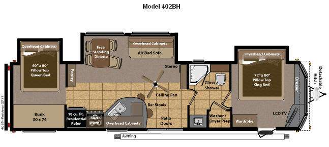 Used 2012 Keystone RV Residence 402BH Destination Trailer at – Two Bedroom Travel Trailers Floor Plans