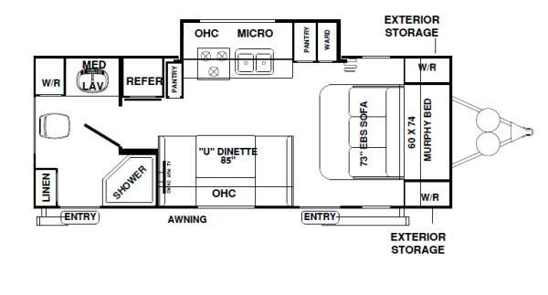 Floor plan furthermore Used 2012 Forest River Rv Rockwood Mini Lite 2503s 578800 29 as well Bar Martini Glasses Set Of 4 additionally Room Types further Wide House Plans. on how much is a sofa bed