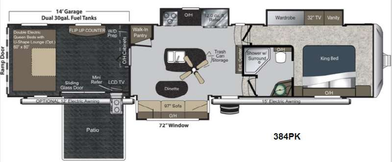 Floorplan   2013 Keystone RV Raptor 384PK
