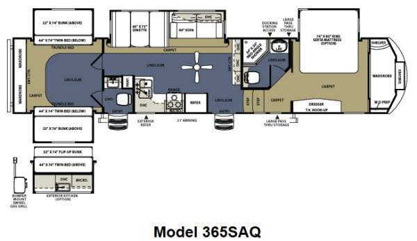 Floorplan - 2013 Forest River RV Sandpiper 365SAQ