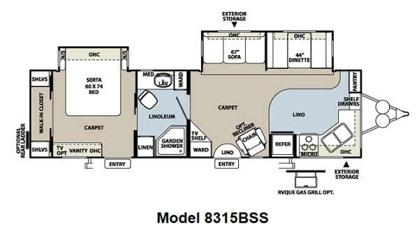 Floorplan - 2013 Forest River RV Rockwood Signature Ultra Lite 8315BSS