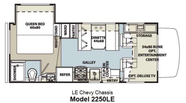 Floorplan - 2013 Forest River RV Sunseeker LE 2250LE Chevy