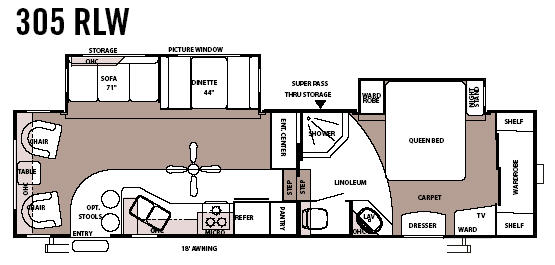 Floorplan - 2007 Forest River RV Sandpiper 305RLW
