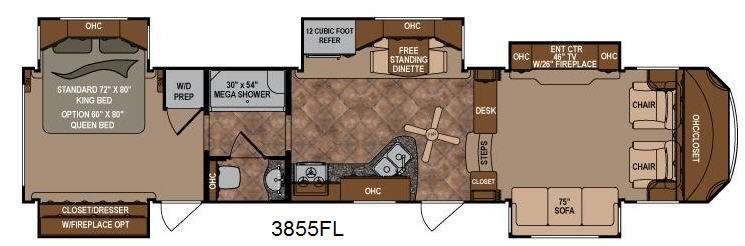 New 2013 Dutchmen RV Infinity 3855FL Fifth Wheel at Trailer Hitch RV – Two Bedroom Travel Trailers Floor Plans