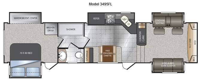 Floorplan 2014 Keystone Rv Alpine 3495fl Floorplan 2014 Keystone Rv Alpine 3495fl