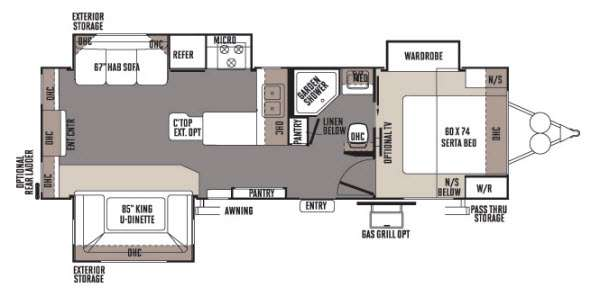 Floorplan - 2014 Forest River RV Rockwood Ultra Lite 2703WS