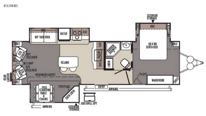 Floorplan - 2015 Forest River RV Flagstaff Classic Super Lite 832IKBS