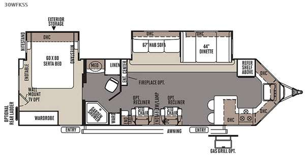 Floorplan - 2015 Forest River RV Flagstaff V-Lite 30WFKSS