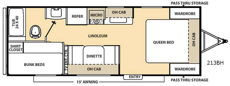 Floorplan - 2015 Coachmen RV Catalina 213BH