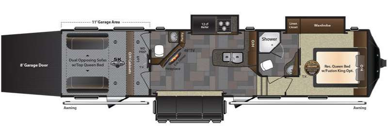 Floorplan - 2015 Keystone RV Fuzion 371