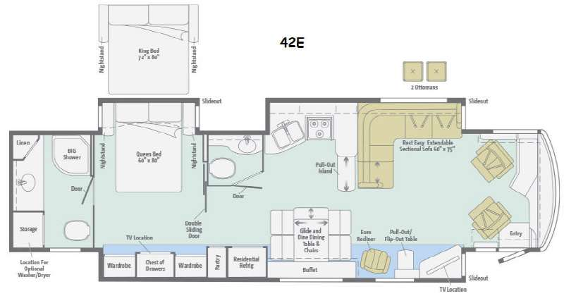 Floorplan - 2015 Winnebago Journey 42E