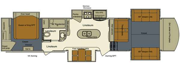 Floorplan - 2015 EverGreen RV Bay Hill 379FL