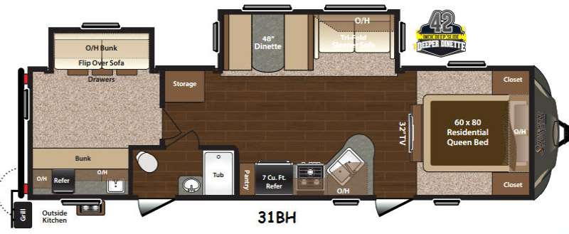 Floorplan - 2015 Keystone RV Sprinter Campfire Edition 31BH