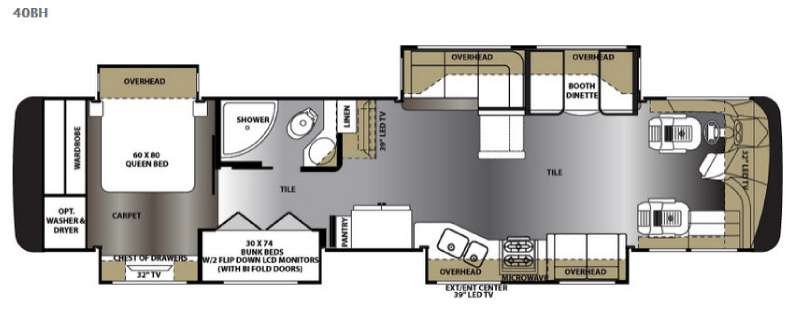 Floorplan - 2015 Forest River RV Berkshire XL 40BH