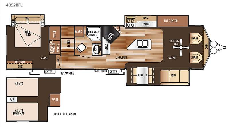 Floorplan - 2015 Forest River RV Salem Villa Series 4092BFL Estate