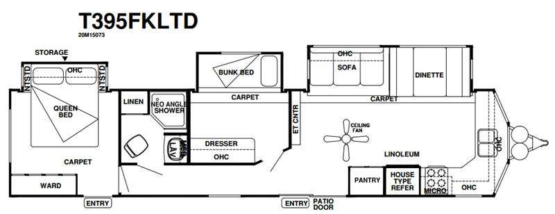 Floorplan - 2016 Forest River RV Wildwood DLX 395FKLTD