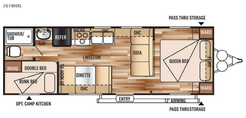 Floorplan - 2016 Forest River RV Wildwood X-Lite 261BHXL
