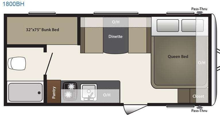 Floorplan - 2016 Keystone RV Summerland Mini 1800BH