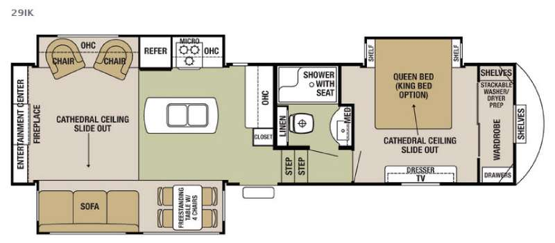 Floorplan - 2016 Forest River RV Cedar Creek Silverback 29IK