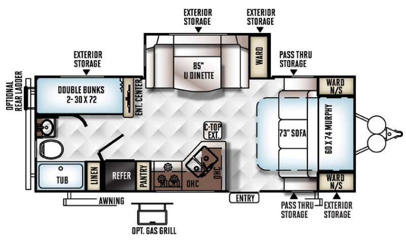 Floorplan - 2016 Forest River RV Rockwood Mini Lite 2504S