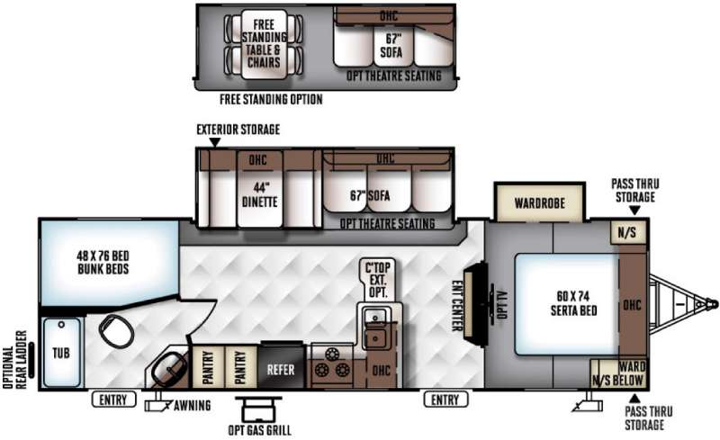 Floorplan - 2016 Forest River RV Rockwood Ultra Lite 2702WS