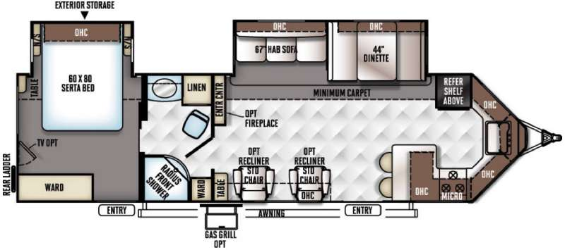 Floorplan - 2016 Forest River RV Rockwood Wind Jammer 3008W