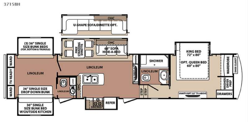 New forest river rv blue ridge 3715bh fifth wheel for sale for Small bunkhouse floor plans