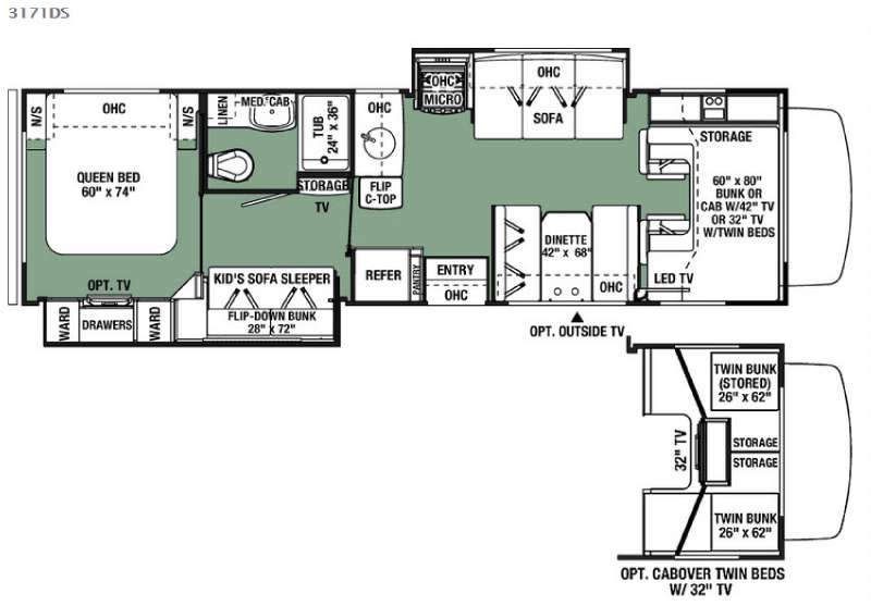 Floorplan - 2016 Forest River RV Forester 3171DS Ford
