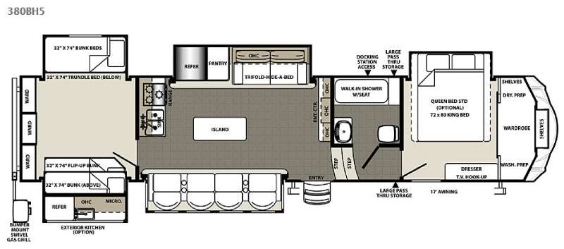 Used 2016 Forest River Rv Sandpiper 380bh5 Fifth Wheel At