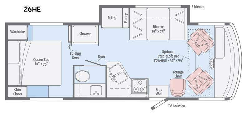 Floorplan - 2016 Winnebago Vista 26HE