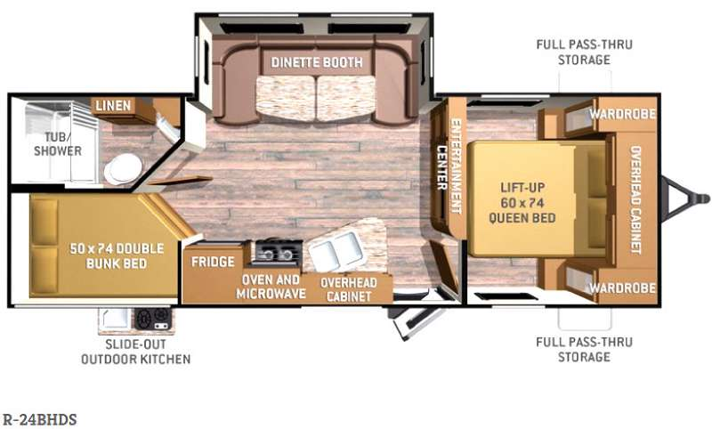 Floorplan - 2016 Cruiser Radiance R-24BHDS