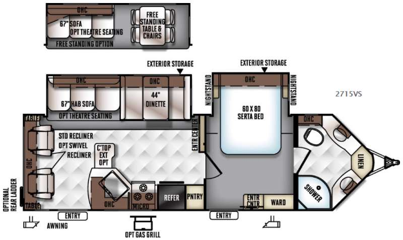 Floorplan - 2016 Forest River RV Rockwood Ultra V 2715VS