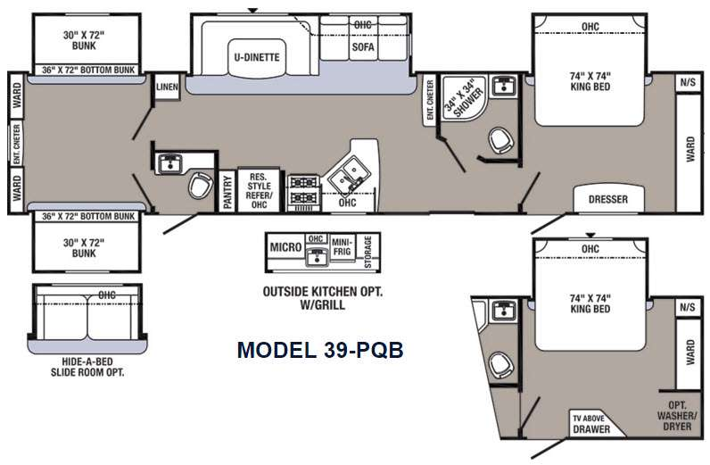 Floorplan - 2016 Palomino Puma Destination 39-PQB