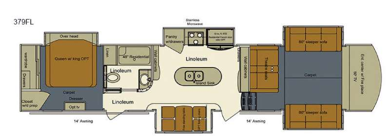 Front Living Fifth Wheel Floor Plans: New 2016 EverGreen RV Bay Hill 379FL Fifth Wheel At Topper
