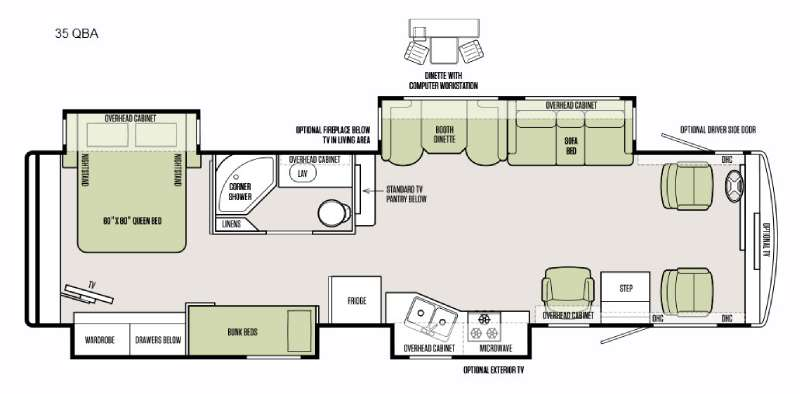 Floorplan - 2016 Tiffin Motorhomes Allegro 35 QBA