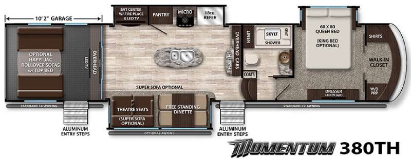 New Grand Design Momentum 380th Toy Hauler Fifth Wheel For Sale Review Rate Compare Floorplans