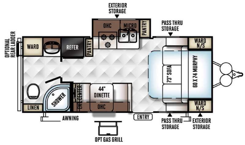 Floorplan - 2017 Forest River RV Rockwood Mini Lite 2304KS
