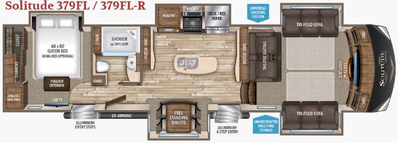 fifth wheel front living room. Floorplan Title New 2017 Grand Design Solitude 379FL Fifth Wheel at Wilkins RV