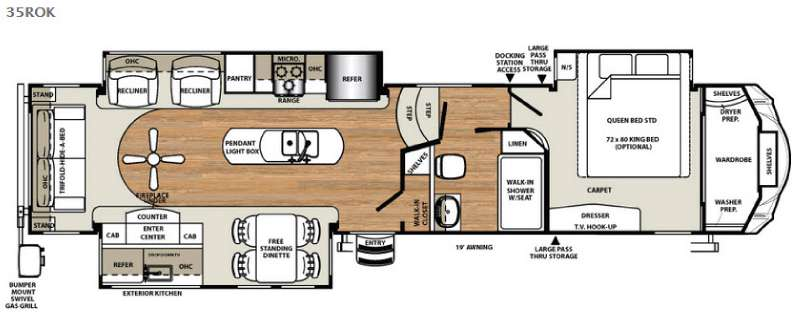 Floorplan - 2017 Forest River RV Sandpiper 35ROK