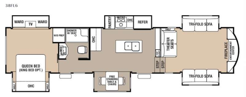 Floorplan - 2017 Forest River RV Cedar Creek Hathaway Edition 38FL6