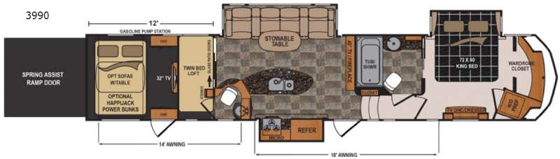 Voltage V3990. Voltage V3990 Floorplan Image. This Voltage Toy Hauler Fifth  Wheel ...