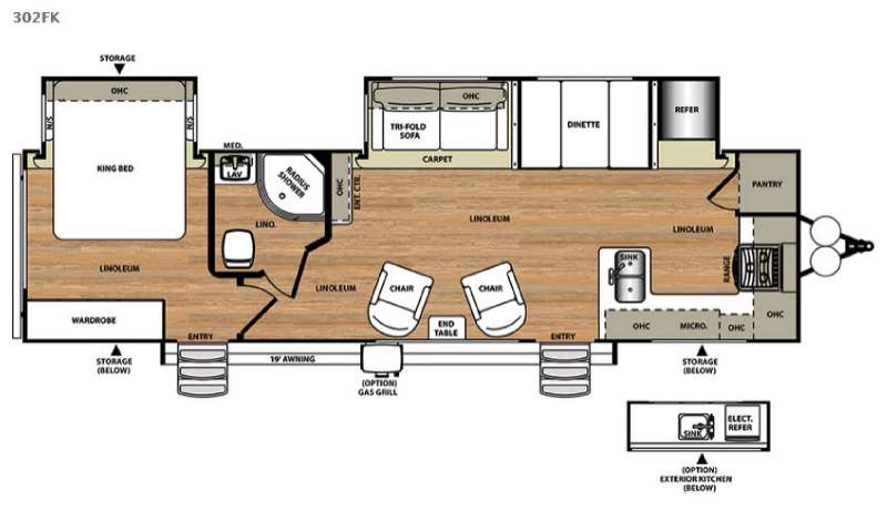 Front Kitchen Rv Floor Plans Gurus Floor