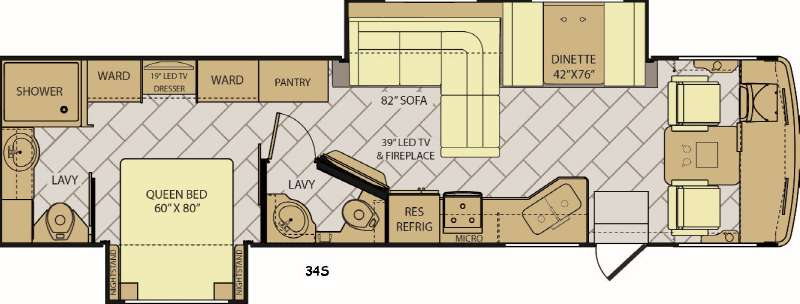 Floorplan - 2017 Fleetwood RV Storm 34S