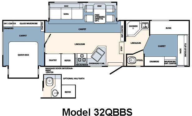 Floorplan - 2008 Forest River RV Wildcat 32QBBS