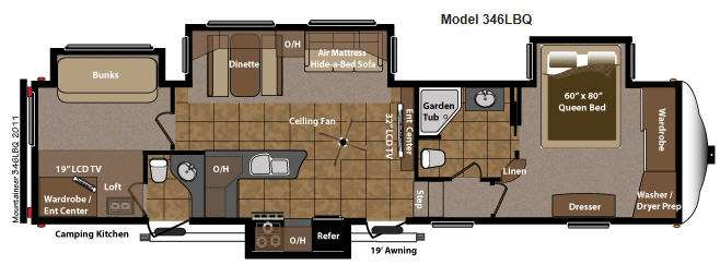 Floorplan - 2012 Keystone RV Mountaineer 346LBQ