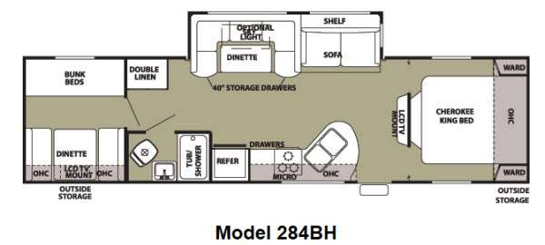 Floorplan - 2012 Forest River RV Cherokee 284BH